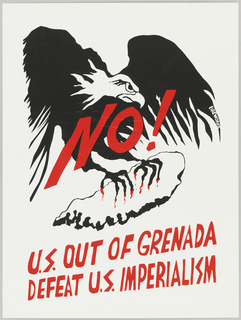 "Print of eagle with claws gripping map of Grenada; ""No!"" emblazoned across eagle."