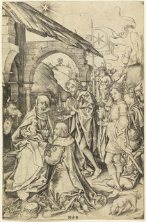 The Virgin is seated to the left in the foreground, holding the Child on her knees. One of the Magi kneels before them, shown facing left, in profile. The two other Magi, and their servants, are in the background, right. A dog, at lower right. Monogram of Schongauer, lower center.