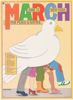 On peach ground, the body of a white dove viewed in profile from the right. Dove's legs are made up of five different human legs, both male and female, stepping forward on a sidewalk. Poster for rally on nuclear disarmament. Printed text above and at left.