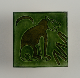 Pair of square tiles of reddish buff clay with bottle-green glaze over incised lions. A) facing right; B) facing left. Faintly visible stamped on back: double wings surrounded by: W. De. Morgan 2 Co Sand's End Pottery