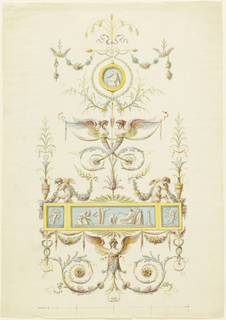 Rinceaux, grotesques and garlands set off a single figure medallion, above, and a horizontal panel below, showing figures classically dressed. Probably a decorative scheme for Robert Adam. Below, a scale, without numerical indication.