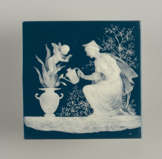 Square with white decoration on greenish-blue ground consists of a kneeling woman wearing conical hat, long robe, watering a plant in classical vase at left, from which a cherub rises.