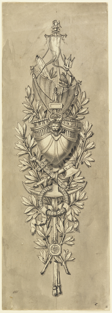 The stern of a sail ship with the Napoleonic eagle as a mast head, a trident, an oar are shown in the top part, an axe, a sword, an anchor, a laurel wreath and a compass suspended from a scarf, in the bottom part. Laurel boughs form the background. Colored ground.