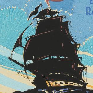 "The poster depicts the silhouette of a ship; above, in the sky, a woman's head surrounded by blue clouds. Text in white gouache, upper right: ROMANCE RIDES / THE SEAS; in blue gouache, right: ESTHER / RALSTON; in orange gouache, lower margin: ""OLD / IRONSIDES"" / WITH / WALLACE BEERY & GEORGE BANCROFT."