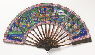 Pleated fan. Gilded silk leaf painted in tempera. Obverse: three figure groups in a landscape. Pink patterned border. Reverse: women with fans, musician and fish-shaped kites. Carved tortoise shell sticks. Silk tassel.