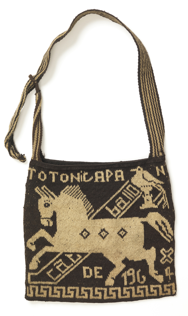 Design of birds, animals and geometric forms in natural and dark brown on both sides of a bag.