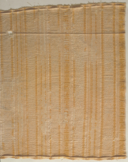 Fragment of a woven fabric with white and yellow stripes containing lozenge and eagle motifs; guard stripes with stylized vine ornament.