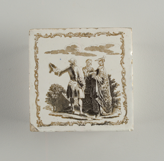Milky white glaze, with brownish printing. Decoration a stringy rocaille framework, with two women and a man, house and trees in background.