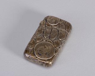 Coins on Simulated Alligator Skin Matchsafe