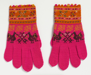 Bright pink gloves in firm stockinette stitch with band of confronted birds and plants around palm in dark brown with touches of blue, white, yellow, and green. Smaller stylized flower band in gold, above. Straight wrist-cuffs crocheted in orange in various geometrical bands with embroidered accents in bright colors.