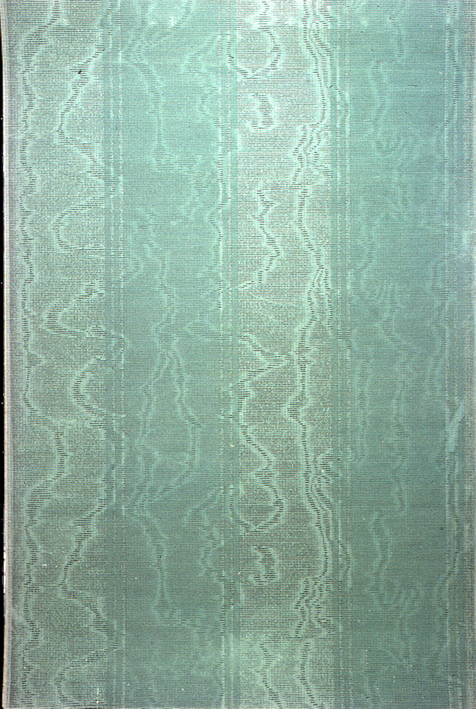Stripe design; band of moire design alternating with band of solid blue-green.