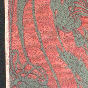 Stylized floral bouquet forming stripes, printed in green on mottled red ground.