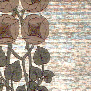 Stylized floral stripe; cluster of four roses on vine printed on textured gold background.