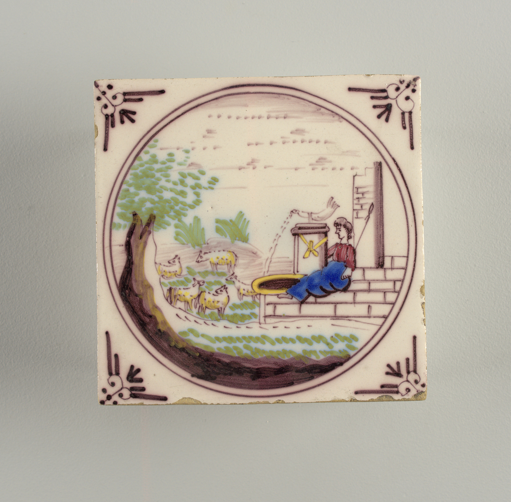Square tile. Medallion enclosing landscape with shepherdess seated on a fountain at the right, and animals at left. Colors: manganese, pale green, deep blue, chrome yellow and brick red.