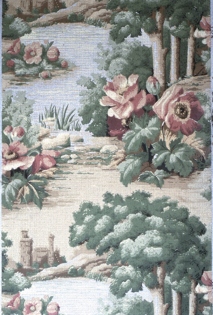 Landscape scene, including large red flowers and foliage, a ruin, and three trees. Printed in red, green and tan.