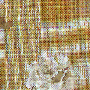 Floral stripe design. Large-scale white roses printed on patterned tan background. Very subtle wide tan stripes.