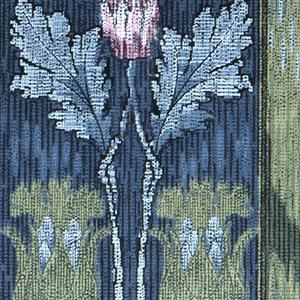 Floral stripe design. Lavender flower on stem printed between two green stripes, on a blue background.