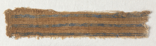 Plain tabby and plain tabby, lancé. Tan tabby with paired interrupted blue pencil-stripes formed by extra wefts, lancé. Loom joined to small piece of much finder tan cotton tabby.