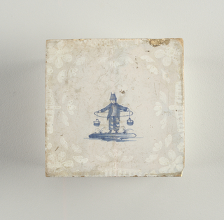 "Square tile. Grayish white ground, centered with slate blue figure of a boy in the Chinese manner. Figure faces the observer and carries two buckets which depend from the ends of a board behind his back. Margins filled with crude floral ornament in overglaze white. Examples of ""bianco sopra bianco"" technique."