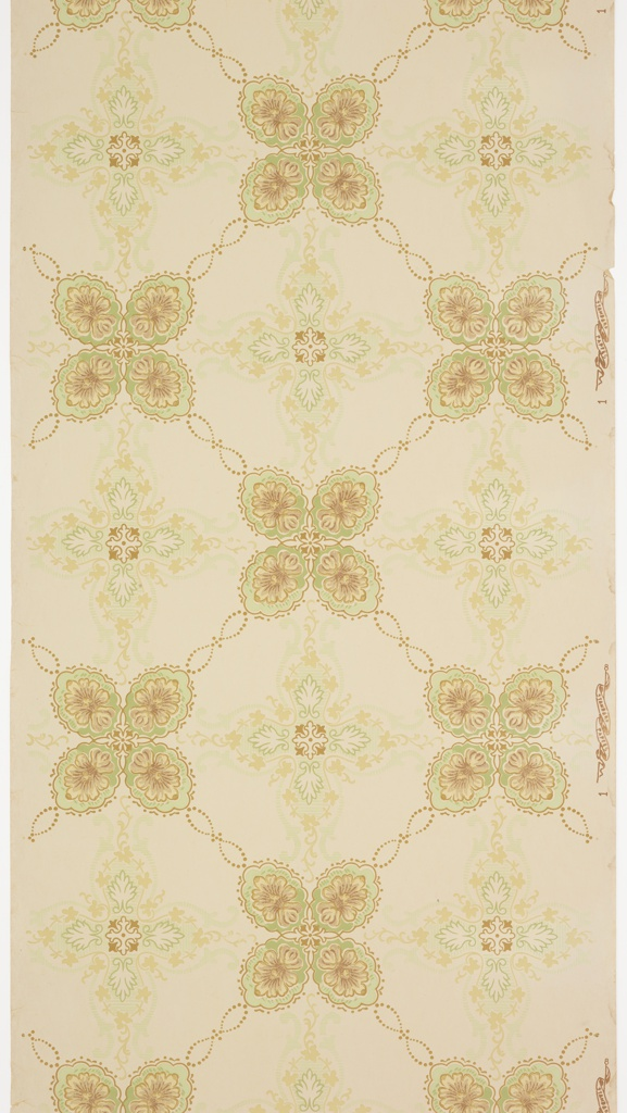 Treillage pattern of intricate four-sided fleurons, with floral vining, beading, and foliate scrolls. Ground is white. Printed in greens, tans, beige, and white.
