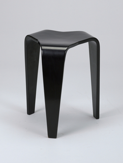 Pair of black stools, each a single piece of birch bent to form a slightly concave triangular seat with three tapering legs.
