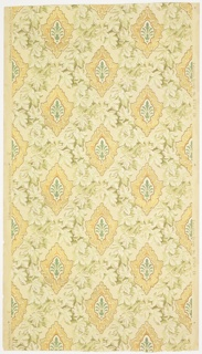 """Stylized foliate motif within a gold medallion, set within a foliate diaper pattern. Printed in greens, brown, metallic brown, metallic copper, metallic gold and metallic teal on a textured cream ground. Printed in left selvedge: """"S.A. Maxwell & Co. New York & Chicago."""" """"3"""". Printed in right selvedge: """"Exclusive Design No. 2740"""" """"EA""""."""