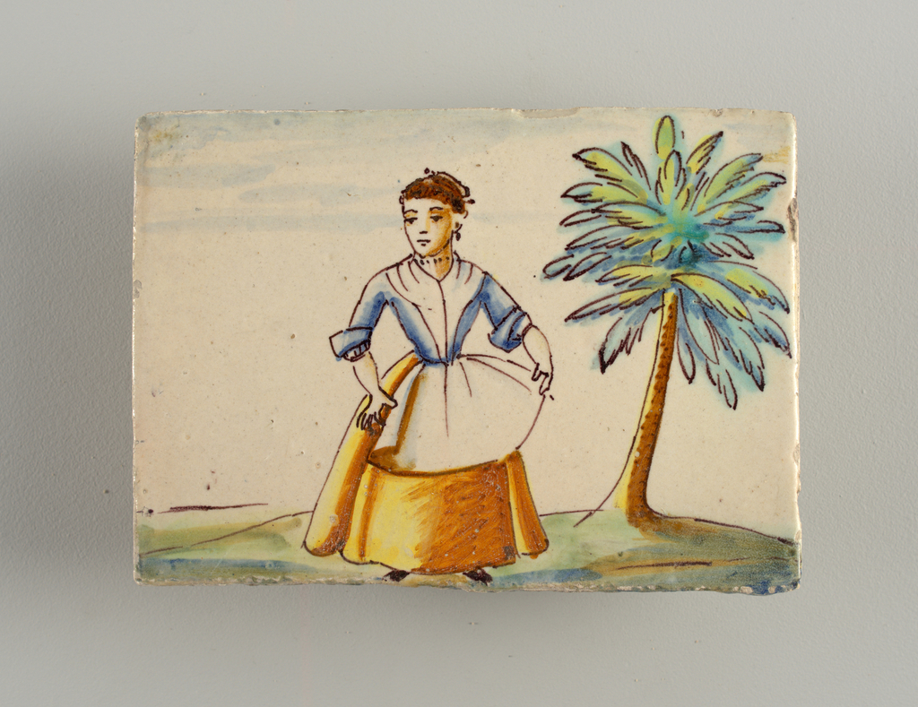 Horizontal rectangle. Standing male, civilian costume with swoard. Amrs up-raised, palms outward, in one hand a three-cornered hat. At right, three cedar trees in blue and green cast brown and blue-gray shadows.