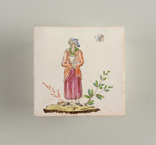 Cream-colored clay slightly corrugated on reverse. White glaze, of which traces are shown on reverse. Decorated with figure of a woman in pink skirt, green kerchief and orange jacket, in style of Watteau's pastoral figures.