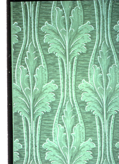 Large acanthus leaves in vertical direction, enclosed in stems and on textured background. Printed in shades of green.