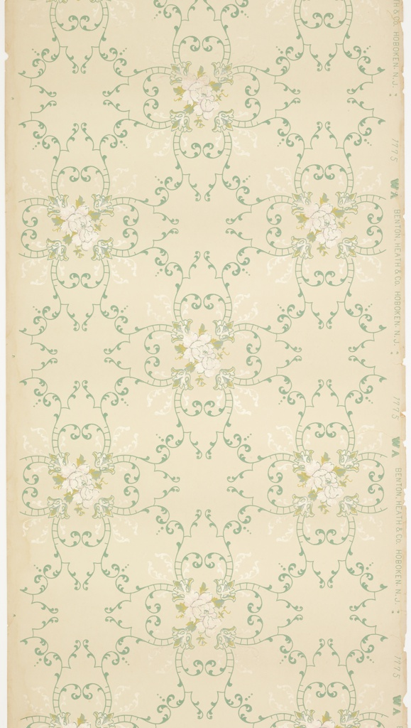 """Floral medallions with pink roses connected by foliate scrolls with pendants. Printed in blue, green, light pink liquid mica and white liquid mica on cream ground. Printed in selvedge """"Benton, Heath & Co. Hoboken. N.J."""" pattern number """"1775"""" """"WA""""."""