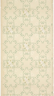 "Floral medallions with pink roses connected by foliate scrolls with pendants. Printed in blue, green, light pink liquid mica and white liquid mica on cream ground. Printed in selvedge ""Benton, Heath & Co. Hoboken. N.J."" pattern number ""1775"" ""WA""."