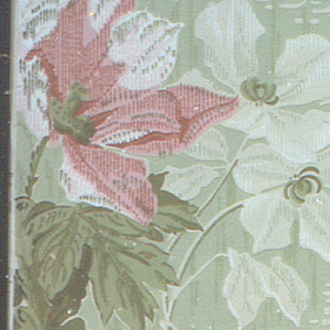 Large poppies, longstemmed, with acanthus leaves and two cinquefoils. The background is covered with a coarse weave pattern. Printed in shades of red, green and white.