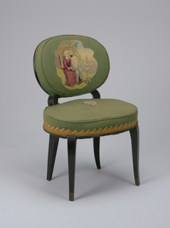 Chair with slightly curved wooden legs; round seat and back upholstered in green fabric. Seat decorated with single white flower and tan zigzag pattern; back depicts scene of woman seated with dog against a tree, behind which a man pokes his head, as a boat sails by on the water to the left. A small purple bush before her.