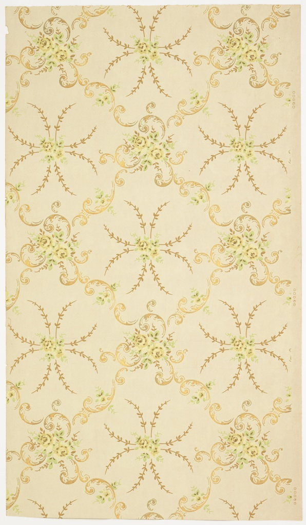 Two-flower bouquets, surrounded by foliate scrolls that form a diagonal treillage pattern with smaller two-flower bouquets and foliate tendrils in the resulting square negative spaces. Ground is white and embossed in a grid-like pattern. Printed in green, yellow, gold mica, and brown.