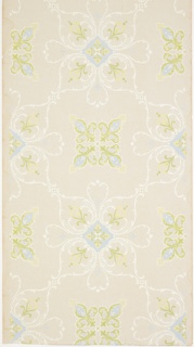 "Alternating large floral medallions with foliate scrolls and fleur-de-lis motifs. Ground is white. Printed in blue, greens, and white.  Printed in selvedge: ""Williamson 665"""