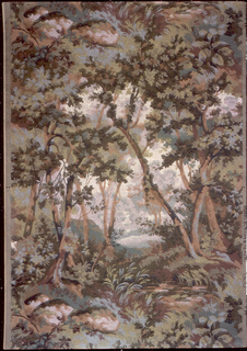 Landscape design with view of a clearing through a group of trees. A mesh-net of fine lines covers the entire design, creating the appearance of a tapestry