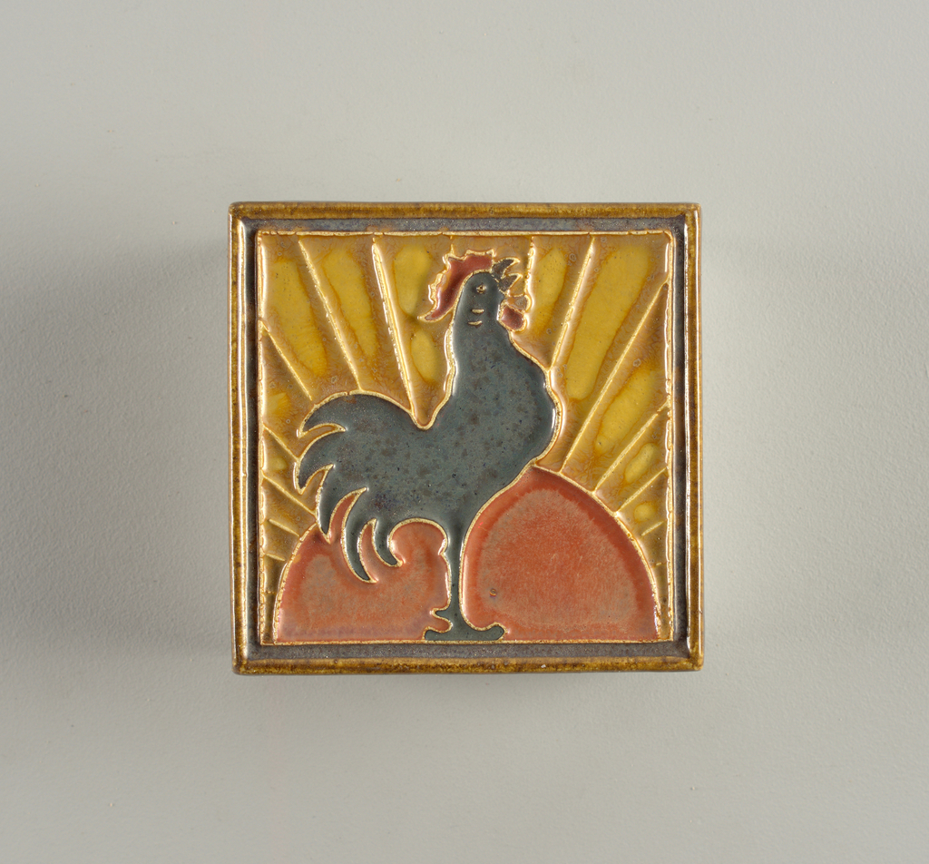 Formed with the cloisonné technique, showing raised ridges. Blue rooster with half of red sun, against yellow sky with rays from sun. One of a series representing various nations; this representing France, made at 25th anniversary of Queen Wilhelmina's accession.