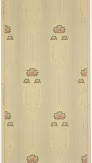 """Art nouveau / mission style. Bands with small floral motifs and large vase-like medallions containing stylized pink flowers alternating with stripes of varying sizes and band of lag and feather. Background of small vertical dashes in groups of three. Printed in green, pinks, blue-grey, light yellow and metallic gold on beige ground. Printed in left selvedge: """"S.A. Maxwell & Co. 2192"""""""