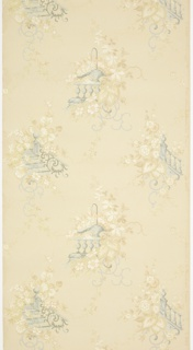 "Alternating floral bouquets covering two different architectural structures (the corner of a staircase and a balcony) with foliate scrolls, connected by floral vining tendrils. Ground is cream. Printed in greens, pinks, white mica, blue, beige, and orange mica. Printed in selvedge: ""Cresswell & Washburn. Phila. 0.593"""