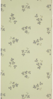All-over pattern of medium-sized leafy vine motif. Printed in blue-grey and metallic gold on light blue-green ground.