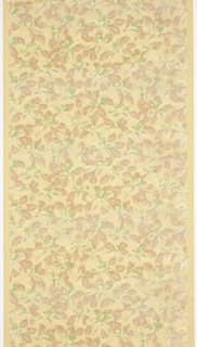 "All-over pattern of green flowers with brown foliage. Printed in greens, browns and cream on yellow ground. Printed in selvedge: ""Ithaca Wall Paper Mills"" and illegible pattern number."