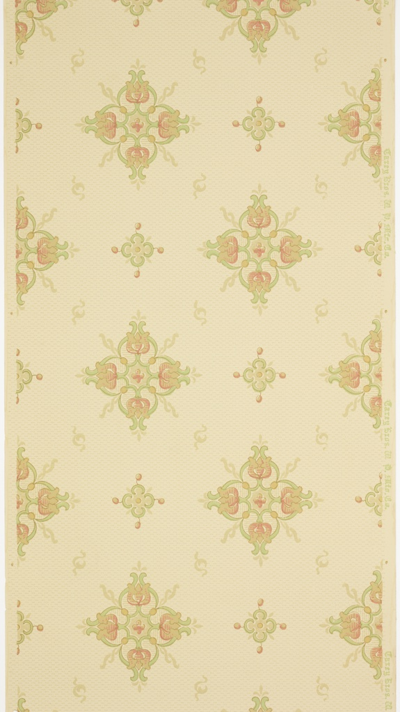 "Art nouveau / mission style. Bands of large and small stylized floral (tulip) medallions alternating with bands of s-scroll motif. Background of small three-dot dash pattern. Printed in light green, pink and beige on beige ground. Printed in selvedge: ""Carey Bros W. P. Mfg. Co."""