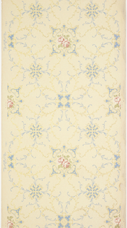 "Alternating large floral medallions with rose insets and scrolls and two fleuron motifs, all connected by extensive foliate vining. Printed in light blue, pinks, green liquid mica and gold mica on a cream-beige ground. Printed in selvedge: ""Standard Papers"" pattern number ""393""."