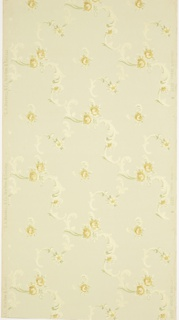 "All-over pattern of foliate scrolls and yellow roses. Printed in green, yellow, brown, white and white liquid mica on light yellow ground. Printed in selvedge: ""S.A. Maxwell & Co. New York & Chicago."" ; ""Exclusive Design"" pattern number ""2275"" ""B"""