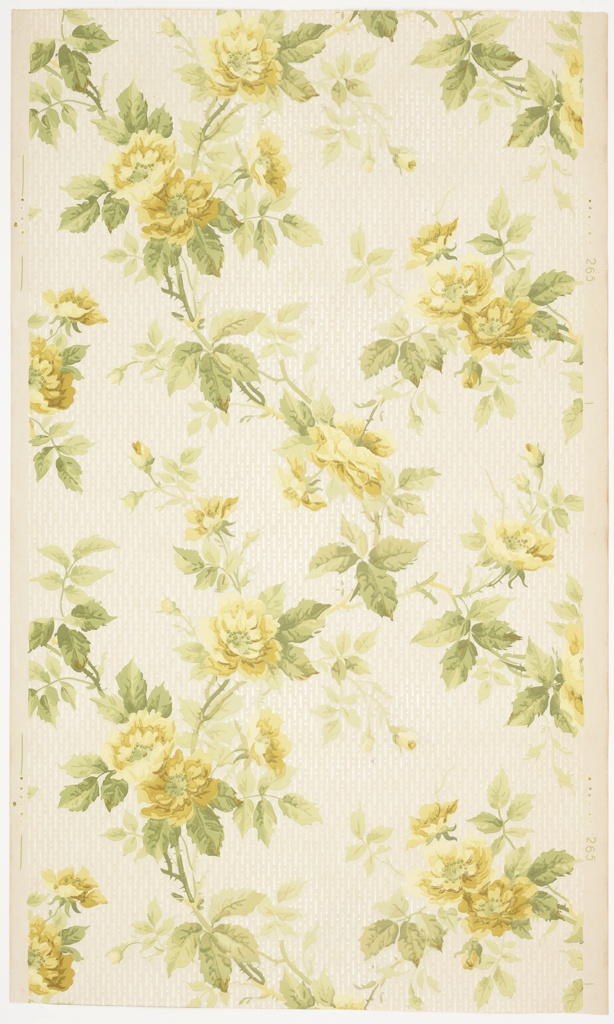 Overall large yellow rose vining with a background of vertical white mica bead and reel stripes. Printed in greens, yellows white mica, and green browns on off-white ground.