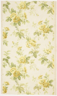 """Overall large yellow rose vining with a background of vertical white mica bead and reel stripes. Ground is white. Printed in greens, yellows white mica, and green browns.  Printed in selvedge: """"265"""""""