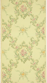 "Treillage pattern of pink and green floral vining, with bouquets and foliate scrolls. Ground is light green and embossed in a grid-like pattern. Printed in pinks, greens and gold mica.  Printed in selvedge: ""Imperial Wallpaper Co. Sandy Hill. N. Y. 992"""