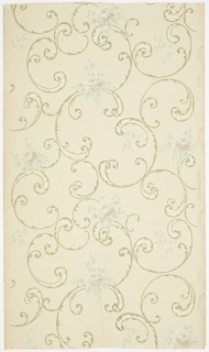 Overall waving scrolls pattern with individual pink roses with foliage. Ground is cream and embossed with a treillage and flower design. Printed in gold mica, green, pinks, white, and grey. 