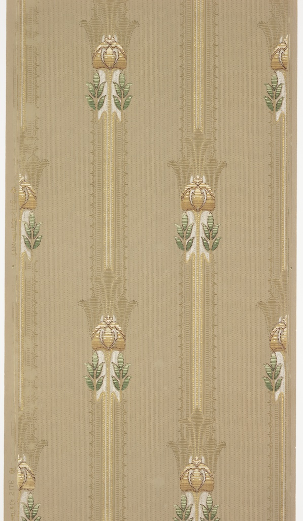 """Lace-like vertical stripes with floral ornaments, each with two sets of leaves and three stylized flowers. The stripes and ornaments contain beading, scallops, and stripes. Background is a grid of geometric dots (small squares and rectangles) separated by vertical lines. Ground is a grey green. Printed in white, beige, greens, brown, gold mica, white mica, and dark pink.  Printed in left selvedge: """"S. A. Maxwell & Co. 2176 CH"""""""