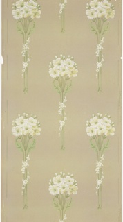Tall bouquets of white floweres with white floral vining wrapped around the stems. Background of irregular white dots on green-grey ground. Printed in greens and white.